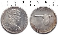 Изображение Монеты Канада 1 доллар 1967 Серебро XF Елизавета II. Гусь
