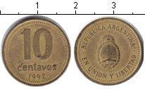 Изображение Барахолка Аргентина 10 сентаво 1992 Медь VF