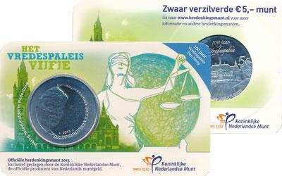 Изображение Подарочные монеты Нидерланды Права человека 2013 Посеребрение UNC Подарочная монета по