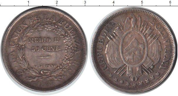 Картинка Монеты Боливия 50 сентаво Серебро 1895