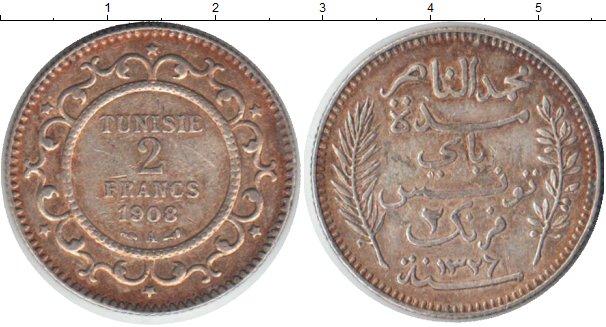 Картинка Монеты Тунис 2 франка Серебро 1908