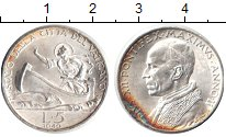 Изображение Монеты Ватикан 5 лир 1940 Серебро XF