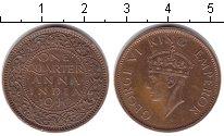 Изображение Монеты Индия 1/4 анны 1940 Медь XF