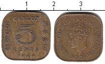 Изображение Мелочь Цейлон 5 центов 1944 Медь VF+ Георг VI