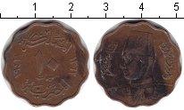 Изображение Монеты Египет 10 миллим 1943 Медь XF Фарук