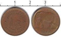 Изображение Монеты Бельгийское Конго 1 франк 1944 Медь XF Слон