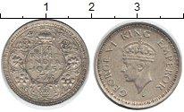 Изображение Монеты Индия 1/4 рупии 1945 Серебро VF