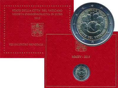 Изображение Подарочные монеты Ватикан VIII Всемирная встреча семей в Филадельфии 2015 Биметалл UNC Представляем Вашему