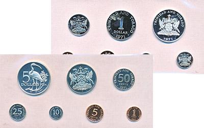 Изображение Подарочные монеты Тринидад и Тобаго Набор памятных монет 1973 1971  Proof Набор памятных монет