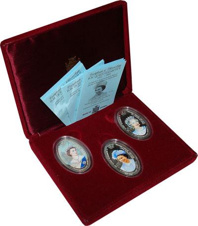 Изображение Подарочные монеты Замбия Королева Елизавета II 2002 Серебро Proof Подарочный набор пос