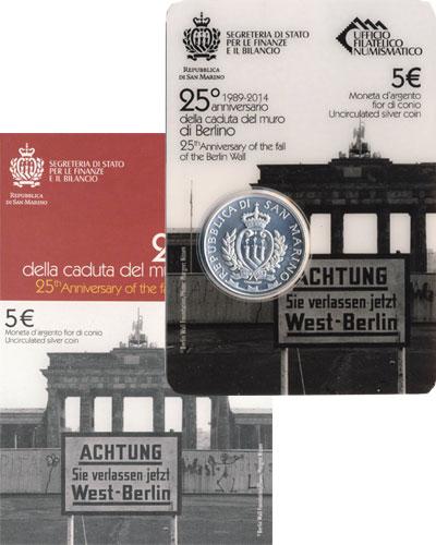 Изображение Подарочные монеты Сан-Марино 25-летие Берлинской стены 2014 Серебро UNC Подарочная монета по