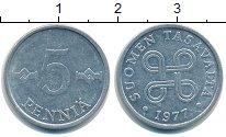 Изображение Мелочь Финляндия 5 пенни 1977 Алюминий VF .