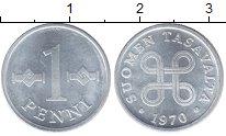 Изображение Мелочь Финляндия 1 пенни 1970 Алюминий VF