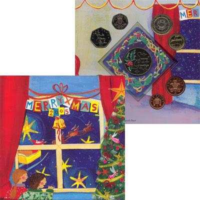Изображение Подарочные монеты Великобритания С Рождеством! 2005  AUNC `Подарочный набор ``