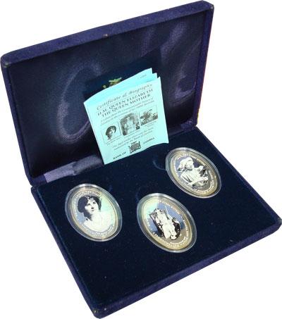 Изображение Подарочные монеты Замбия Королева-мать 2000 Серебро Proof Подарочный набор пос