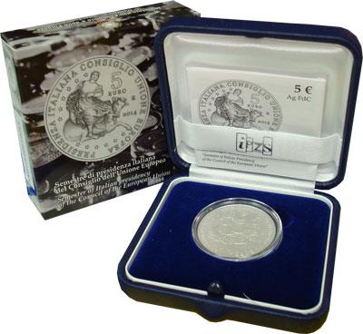 Изображение Подарочные наборы Италия Италия- Президент Совета Евросоюза 2014 Серебро UNC Подарочная монета Ит