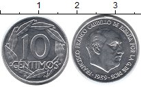 Изображение Мелочь Испания 10 сентим 1959 Алюминий XF Франсиско Франко