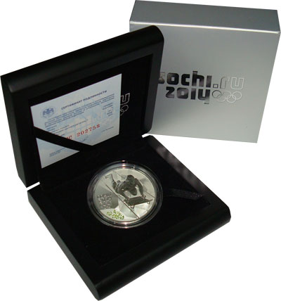 Изображение Подарочные монеты Россия Олимпийские игры в Сочи 2014, Скелетон 2014 Серебро Proof Подарочная монета по