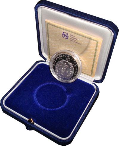 Изображение Подарочные наборы Италия Мир и свобода в Европе 2005 Серебро Proof Монета имеет номинал