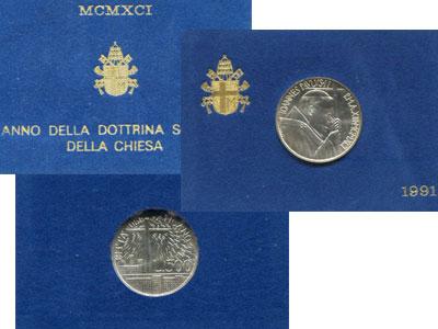 """Изображение Подарочные монеты Ватикан Социальная доктрина Ватикана 1991 Серебро  """"Монета посвящена ра"""