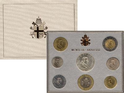 Изображение Подарочные наборы Ватикан Выпуск 99 года, Anno XXI 1999   Регулярный выпуск 19
