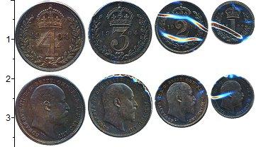 Изображение Наборы монет Великобритания Маунди-сет 1907 (Благотворительный набор) 1904 Серебро Prooflike <br>В наборе 4 монет