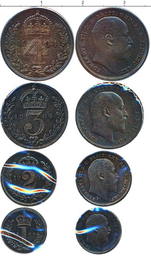 Картинка Наборы монет Великобритания Маунди-сет 1907 (Благотворительный набор) Серебро 1904