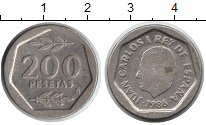 Изображение Монеты Испания 200 песет 1986 Медно-никель VF