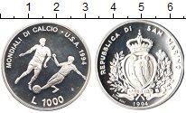Изображение Монеты Сан-Марино 1000 лир 1994 Серебро Proof- Чемпионат мира по фу