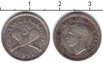 Изображение Монеты Новая Зеландия 3 пенса 1945 Серебро VF