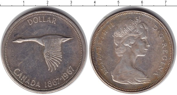 Картинка Монеты Канада 1  доллар Серебро 1967