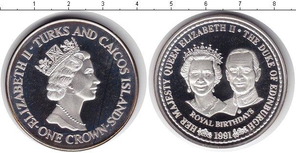 Картинка Монеты Теркc и Кайкос 1 крона Серебро 1991