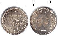 Изображение Монеты ЮАР 3 пенса 1958 Серебро XF Елизавета II