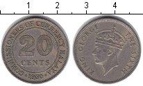 Изображение Монеты Малайя 20 центов 1950 Медно-никель XF Георг VI