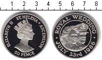 Изображение Монеты Остров Святой Елены 50 пенсов 1986 Серебро Proof Бракосочетание