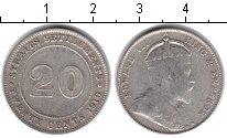 Изображение Монеты Стрейтс-Сеттльмент 20 центов 1910 Серебро VF