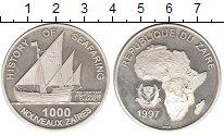 Изображение Монеты Заир 1000 заиров 1997 Серебро Proof- Парусное судно