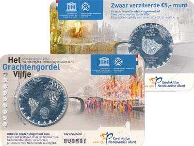 Изображение Подарочные монеты Нидерланды Район Каналов в Амстердаме 2012 Посеребрение UNC Голландский подарочн