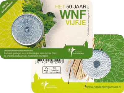 Изображение Монеты Нидерланды 50 лет WWF 2011 Посеребрение UNC Голландский подарочн