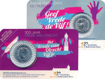 Изображение Монеты Нидерланды 300-летие Утрехтского мирного договора 2013 Посеребрение Proof Голландский подарочн