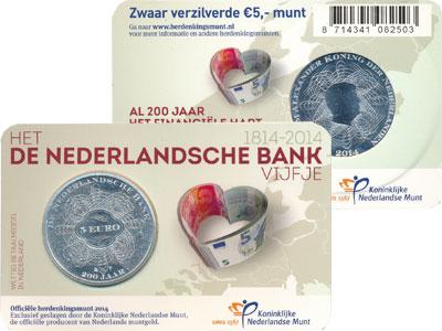 Изображение Подарочные монеты Нидерланды 200 лет Нидерландскому банку 2014 Посеребрение UNC Голландский подарочн