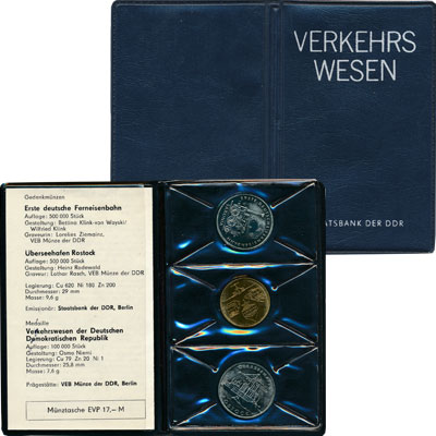 Изображение Подарочные монеты ГДР Транспорт Германии 1988 Медно-никель UNC Подарочный набор ГДР
