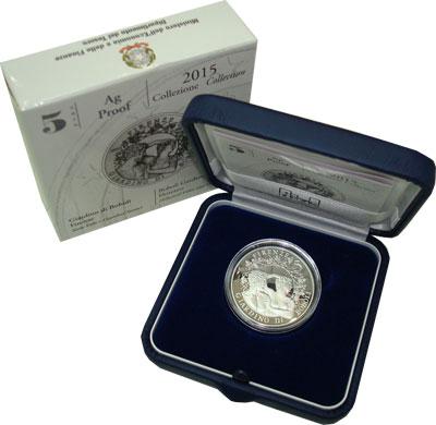 Изображение Подарочные монеты Италия Сады Боболи во Флоренции 2015 Серебро Proof Итальянский подарочн