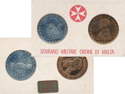 Изображение Подарочные монеты Мальтийский орден Выпуск монет 1975 года 1975   Подарочный набор мон