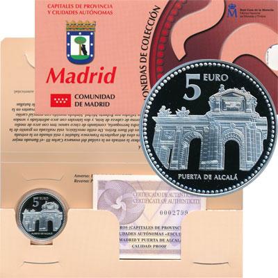 Изображение Подарочные монеты Испания Ворота Алкала 2010 Серебро Proof