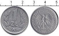 Изображение Барахолка Польша 1 злотый 1986 Алюминий XF