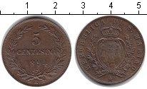 Изображение Монеты Сан-Марино 5 сентим 1894 Медь XF