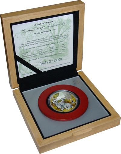 Изображение Подарочные монеты Острова Кука Год кролика 2011 Серебро Proof- Подарочный набор пос