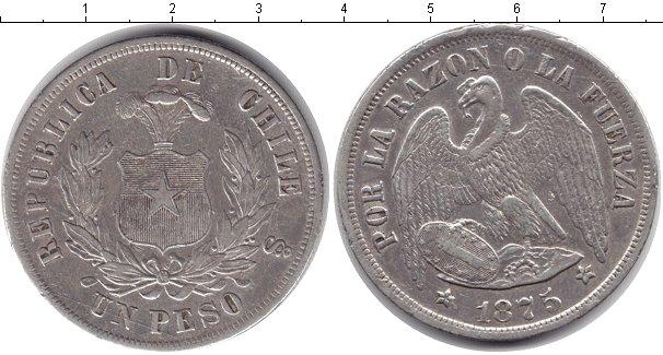 Картинка Монеты Чили 1 песо Серебро 1875