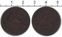 Изображение Монеты Испания 5 песет 1870 Медь